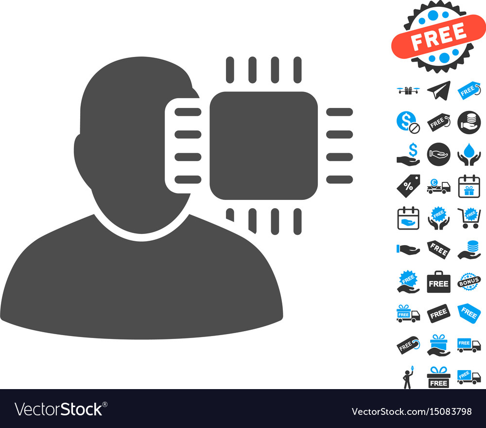 Neuro interface flat icon with free bonus elements vector image