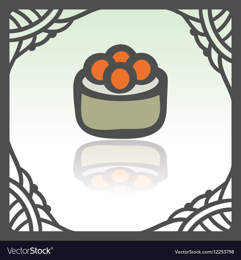 Outline sushi rice roll with caviar japan food vector image