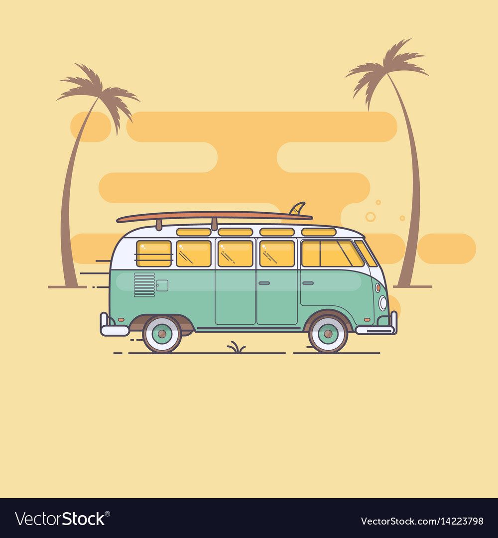 Retro bus with surf boards on summer