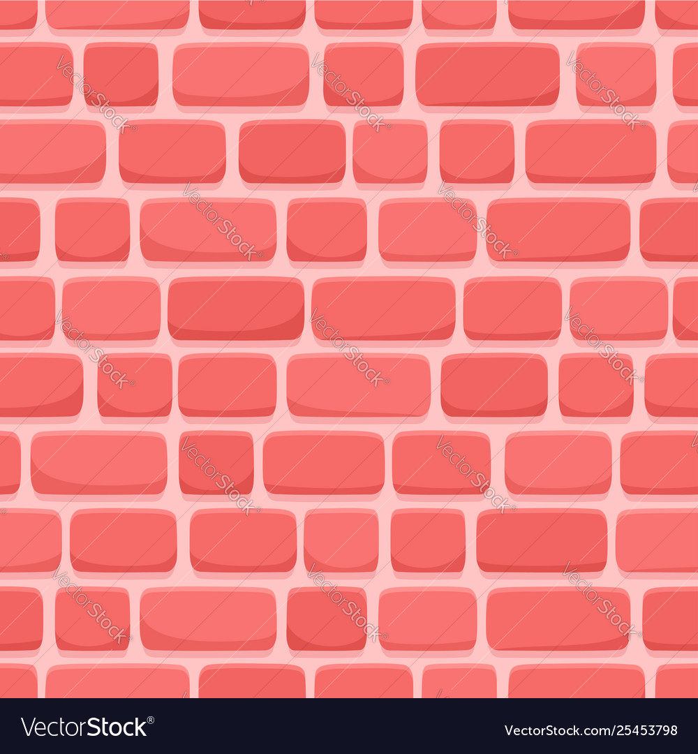 Seamless pattern cartoon red brick wall