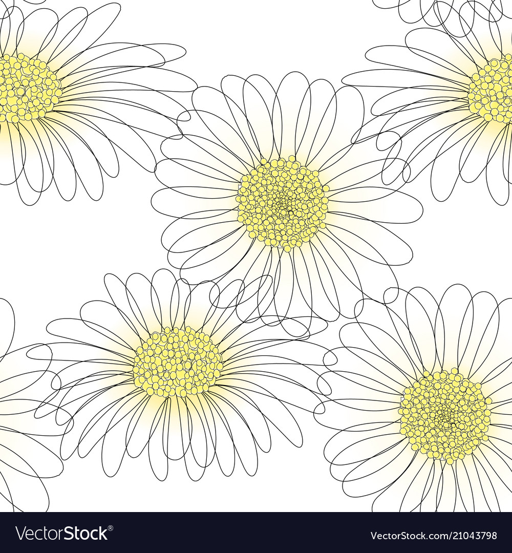 Seamless Pattern With Drawing Daisy Flower Vector Image