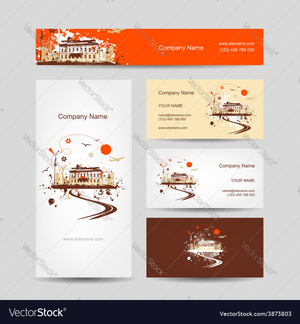 Business cards design with retro house sketch vector image reheart Gallery