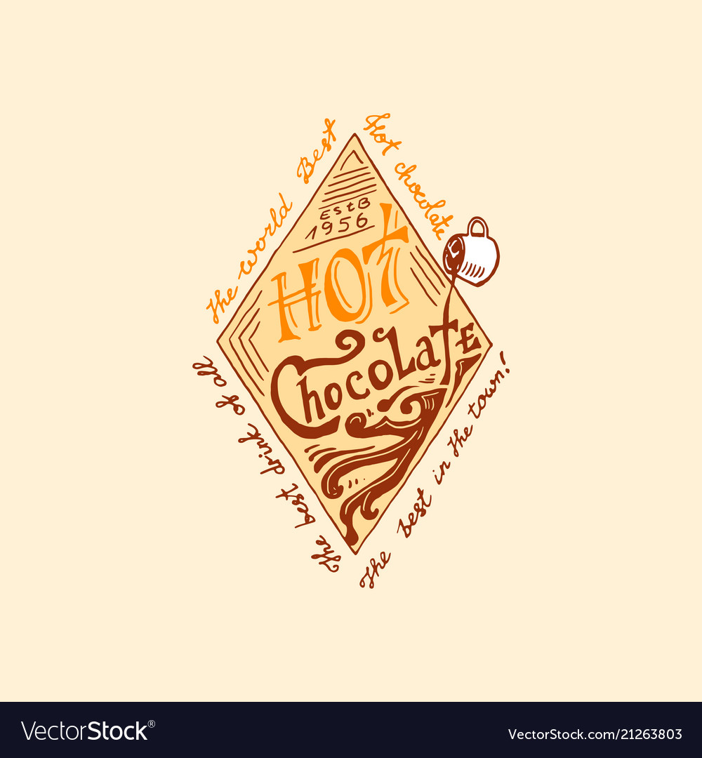 Cocoa and hot chocolate logos modern vintage