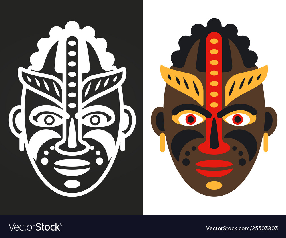 Colorful and white african tribal masks