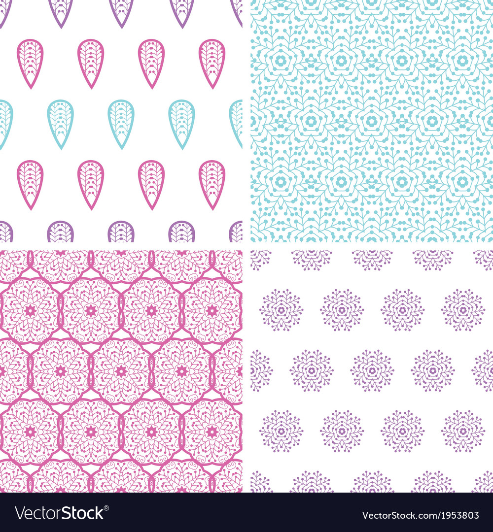 Four abstract feather motives seamless patterns vector image