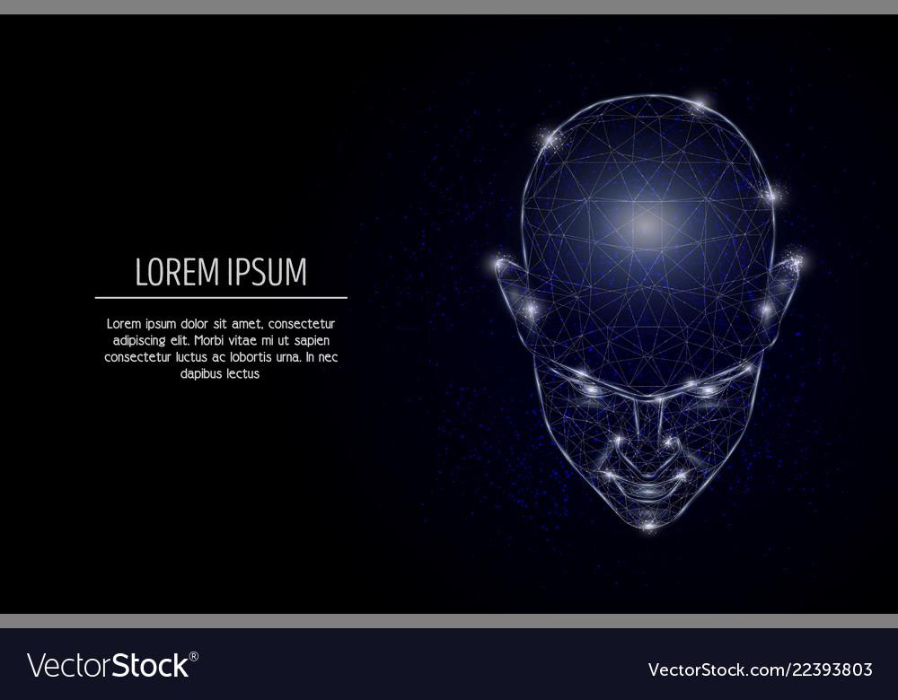 Human mind geometric polygonal art style