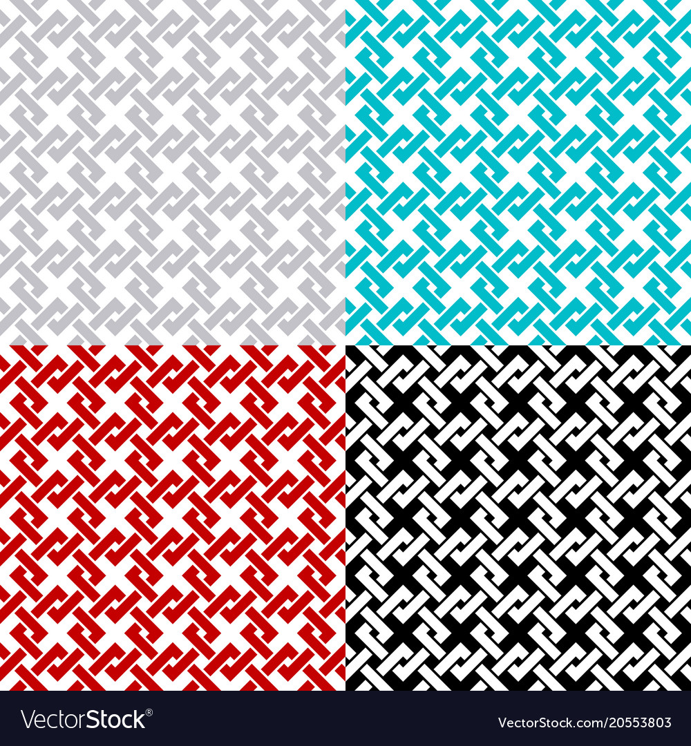 Intersected chain squares seamless pattern set