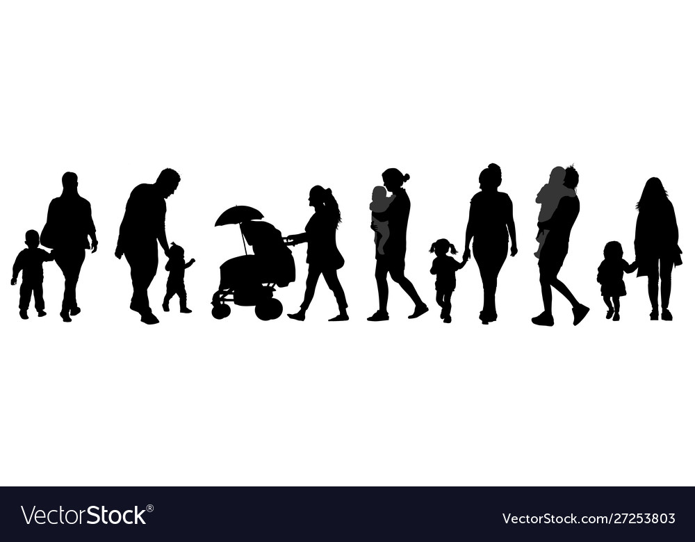 Parents with children silhouettes