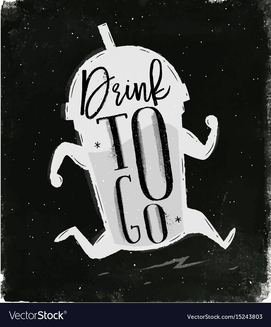 Poster drink to go chalk