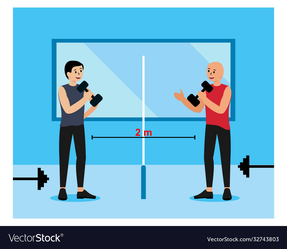 Social distance in gym flat design
