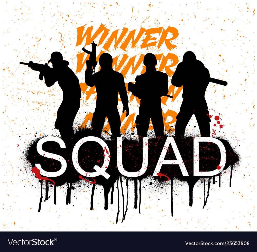 A Squad Of 4 Player Pubg Royalty Free Vector Image