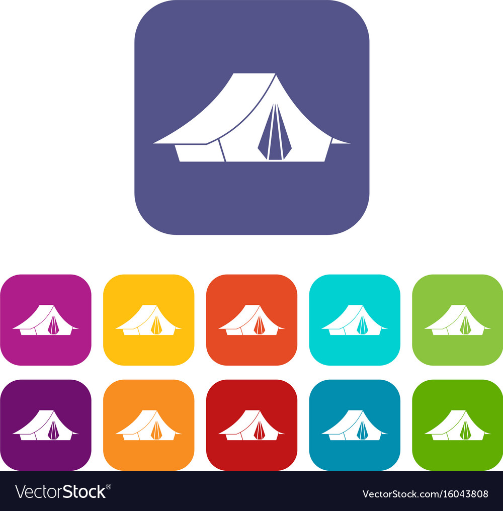Camping tent icons set