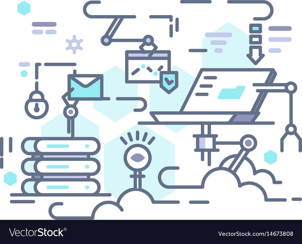 Cloud storage on internet vector image