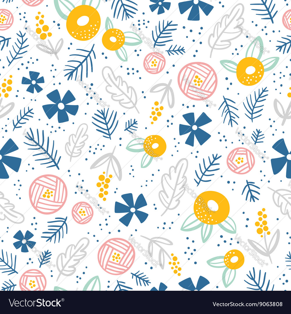 Floral doodle pattern on white