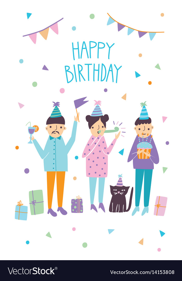 Happy birthday card with funny guests and cat