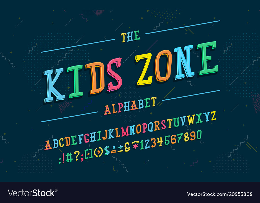 Latin alphabet kids zone font in cute cartoon 3d