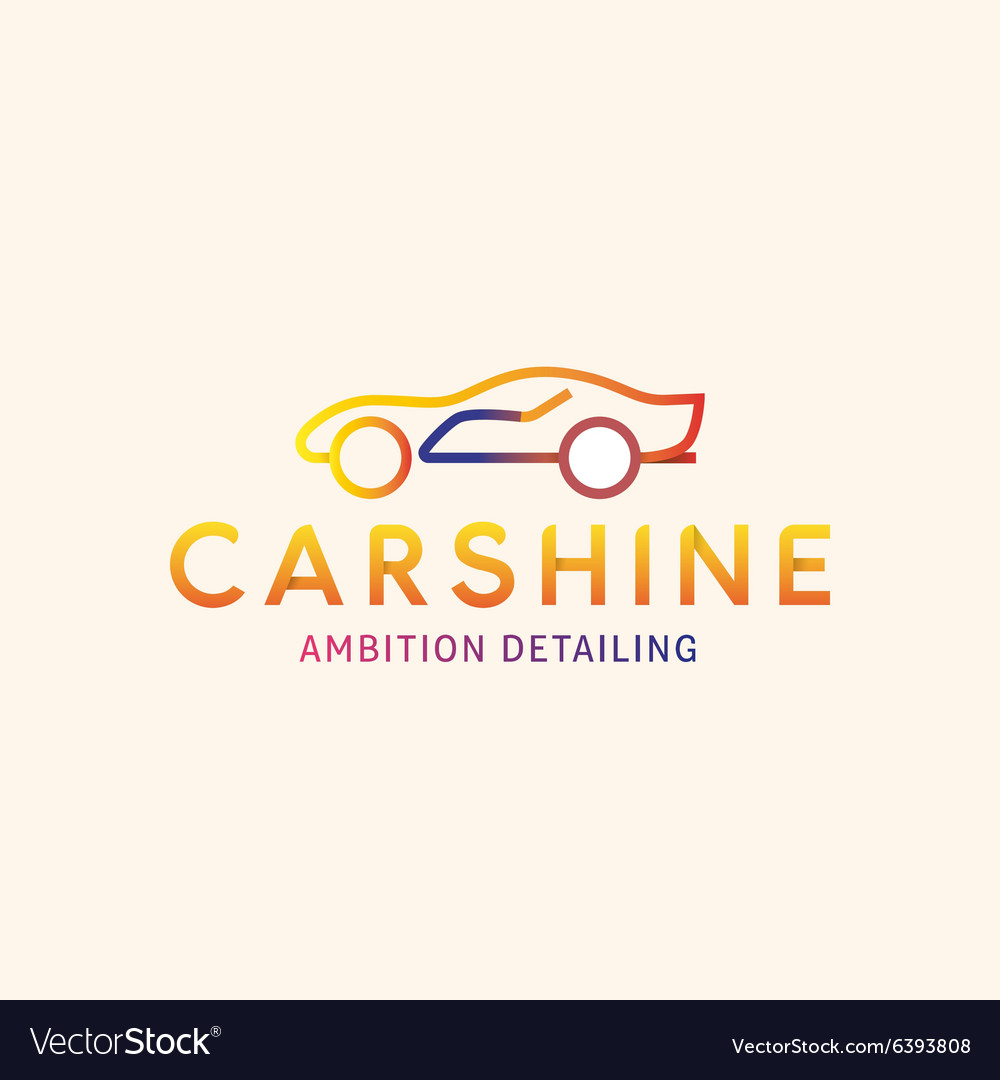 Logo Machine Car shine line outline mark vector image