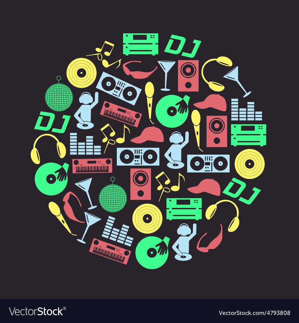 Music club dj color icons set in circle eps10 vector image