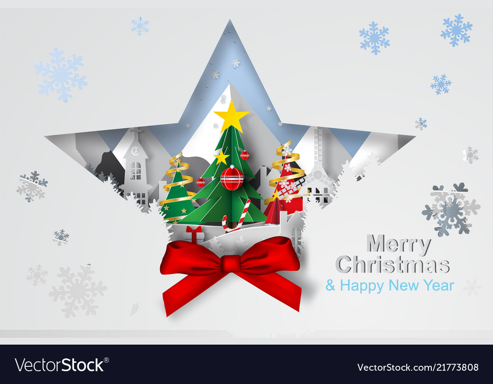 Paper art and craft of christmas tree with