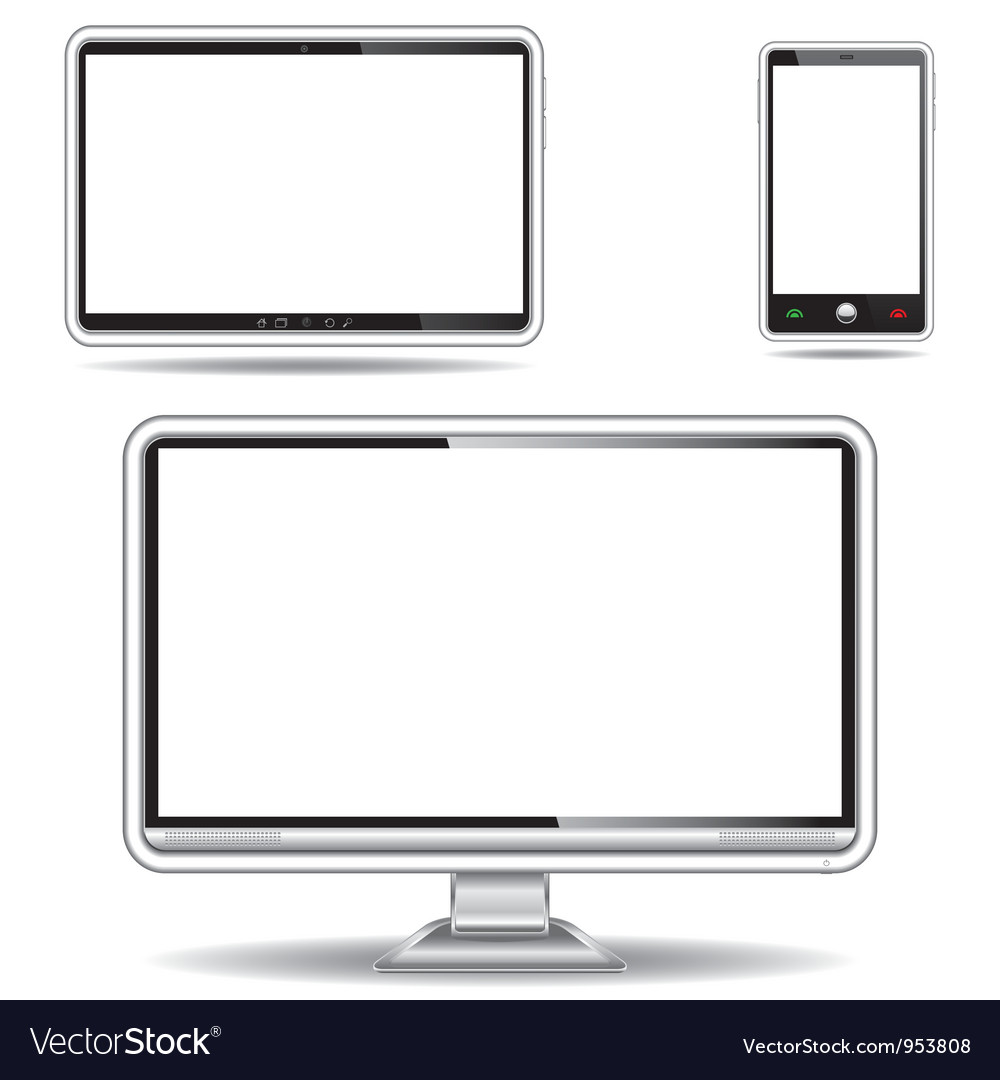 Silver monitor tablet and smart phone