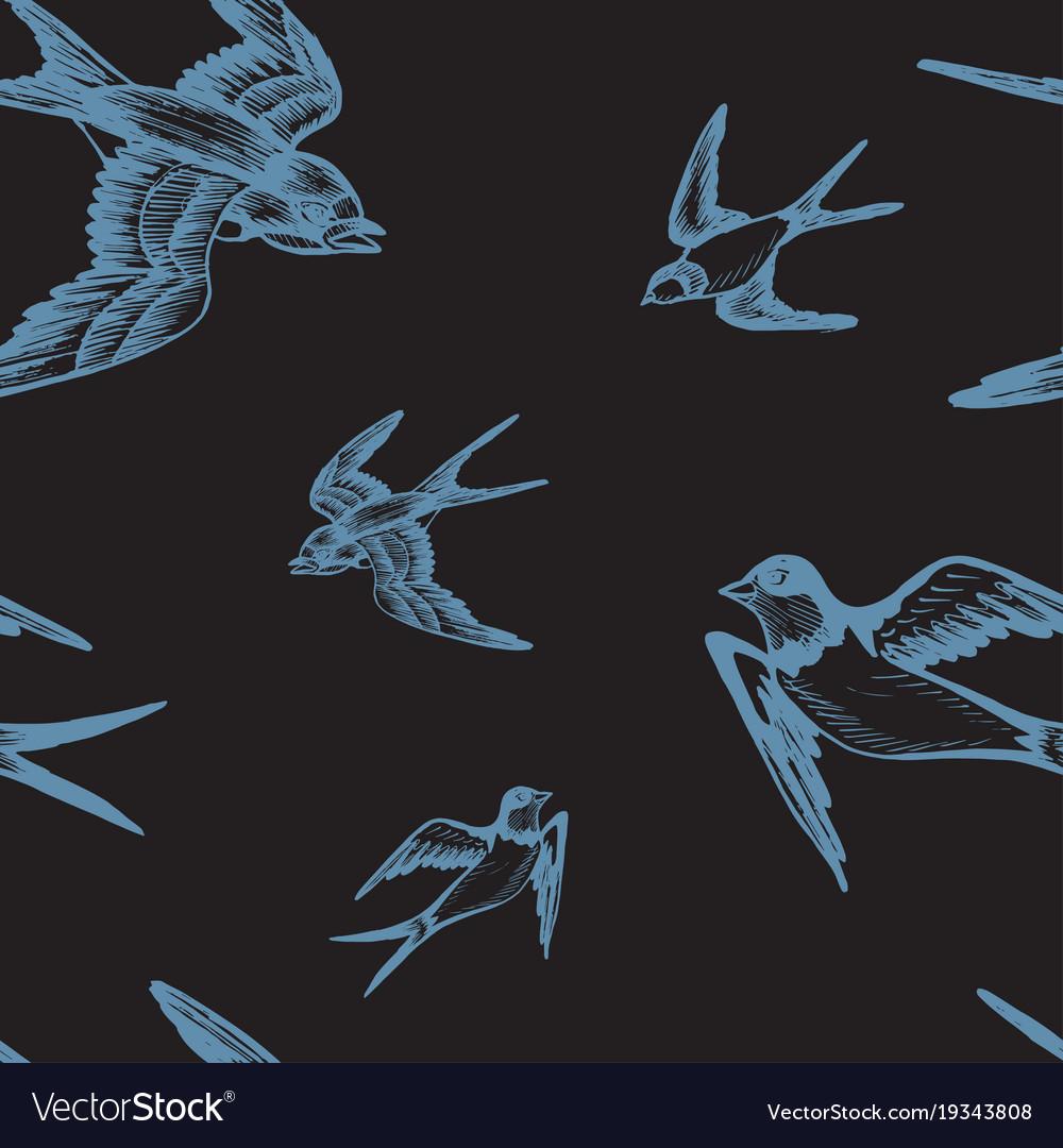 Sketch swallow pattern bird vector image