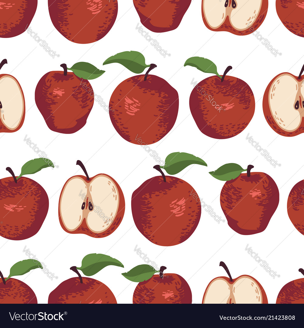 Summer pattern with apples flowers and leaves