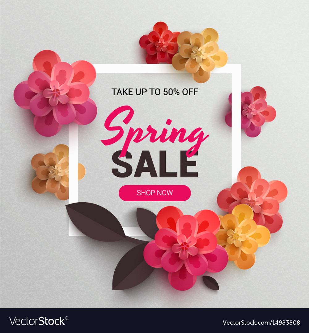 Web Wanner With Red Paper Flowers For Spring Sales