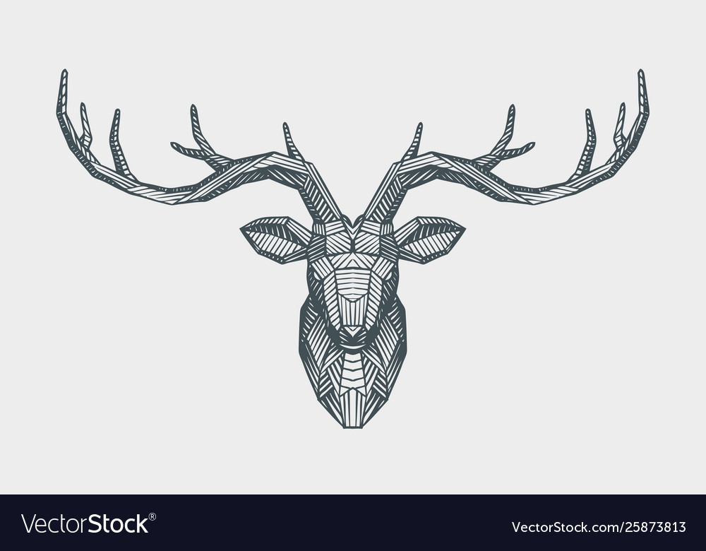 Abstract low poly triangle deer head decorative
