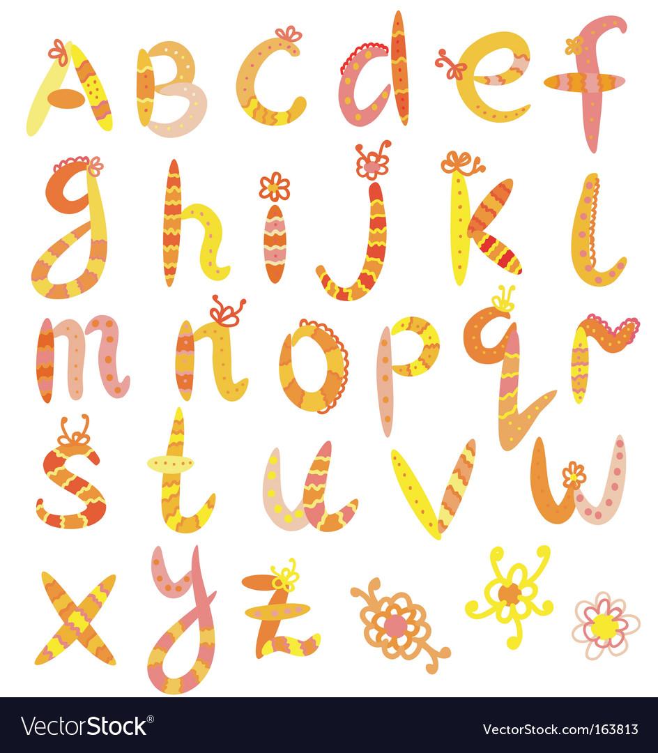 Alphabet set in bright colors