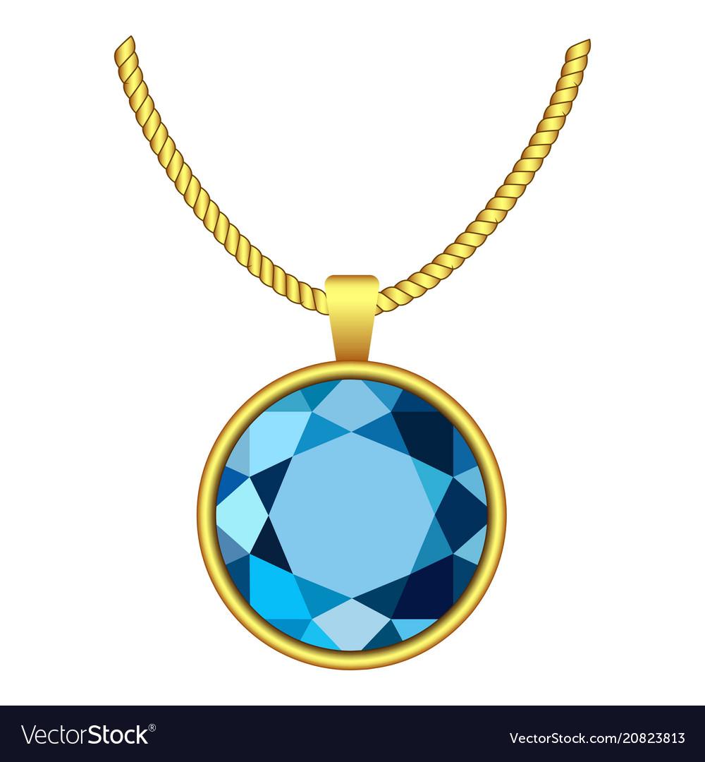 Aquamarine necklace icon realistic style vector image