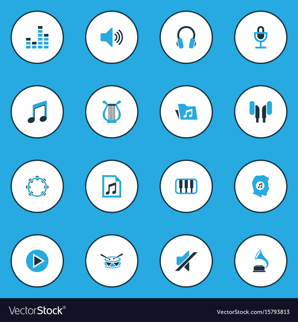 Audio colorful icons set collection of tambourine