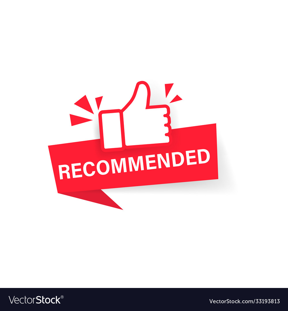 Banner recommended with thumbs up sticker label