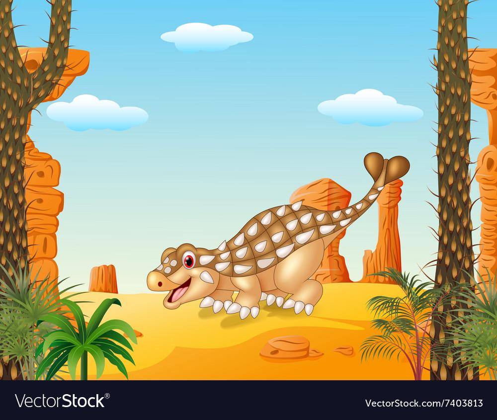 Cartoon happy ankylosaurus with prehistoric vector image