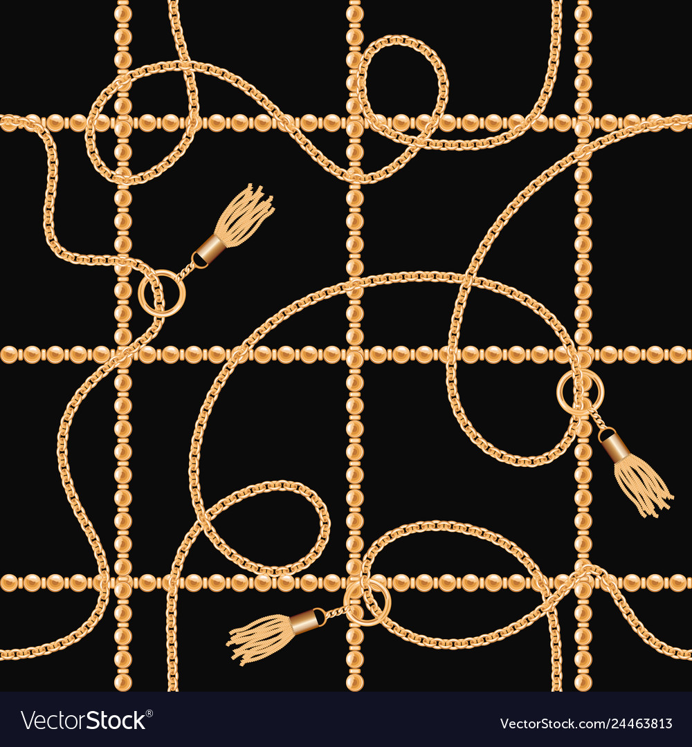 Chains with tassels seamless pattern on black
