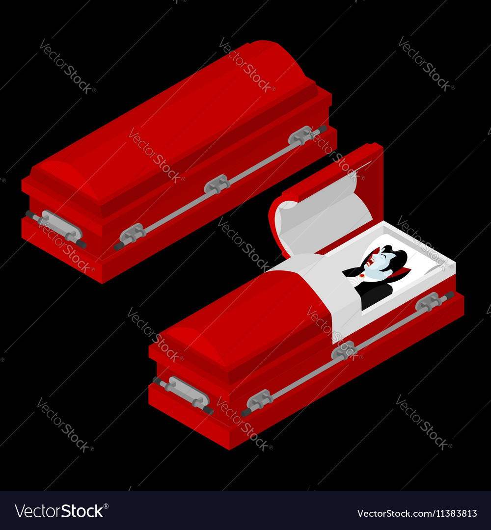 Dracula in coffin Vampire Count in an open hearse vector image