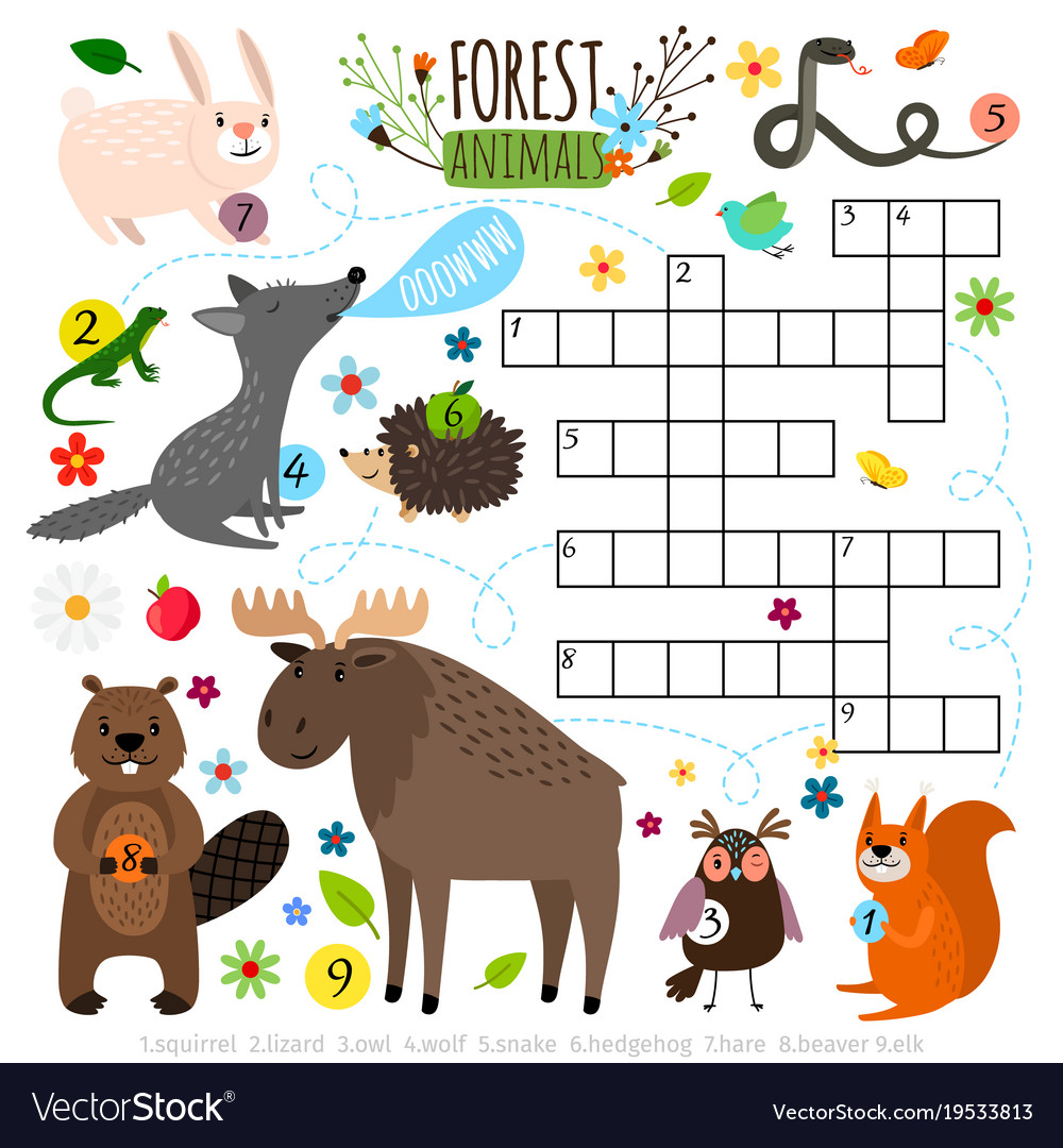 Crossword puzzle for kids, part 3 stock illustration.