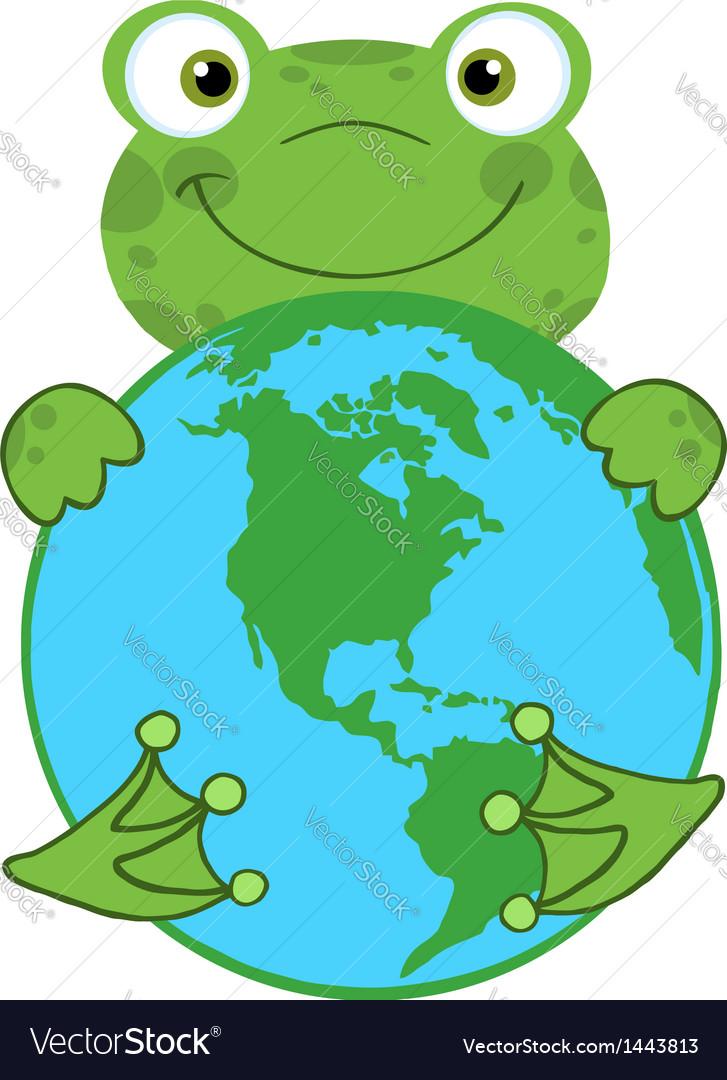 Happy Frog Hugging Planet Earth vector image