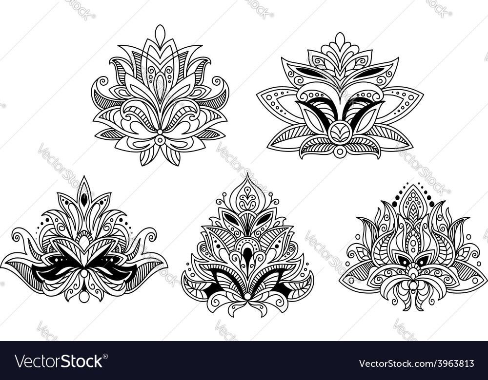 Indian and persian paisley floral design elements