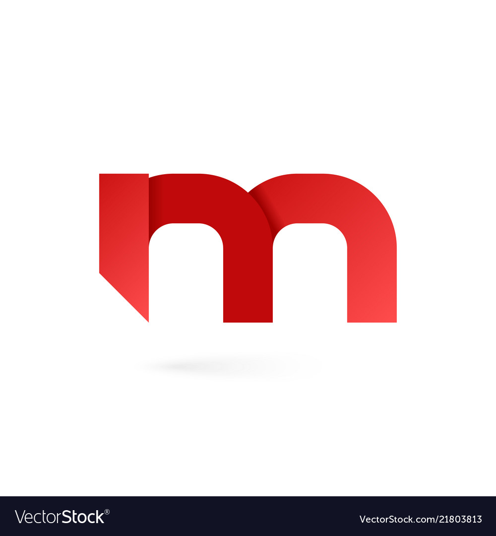 Letter m logo on white alphabet background