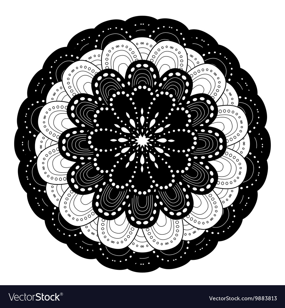 Ornamental round lace pattern black and white