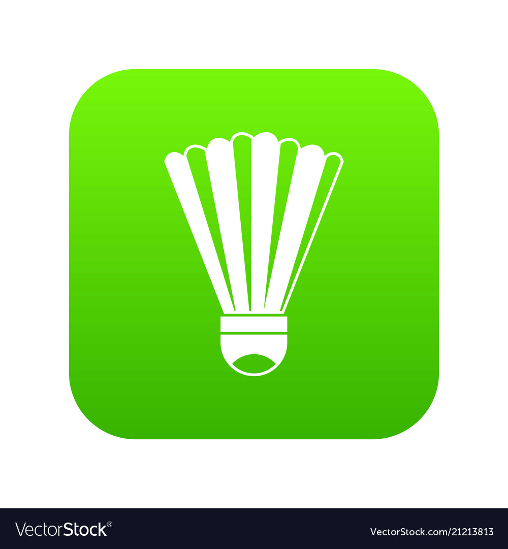 Shuttlecock icon digital green