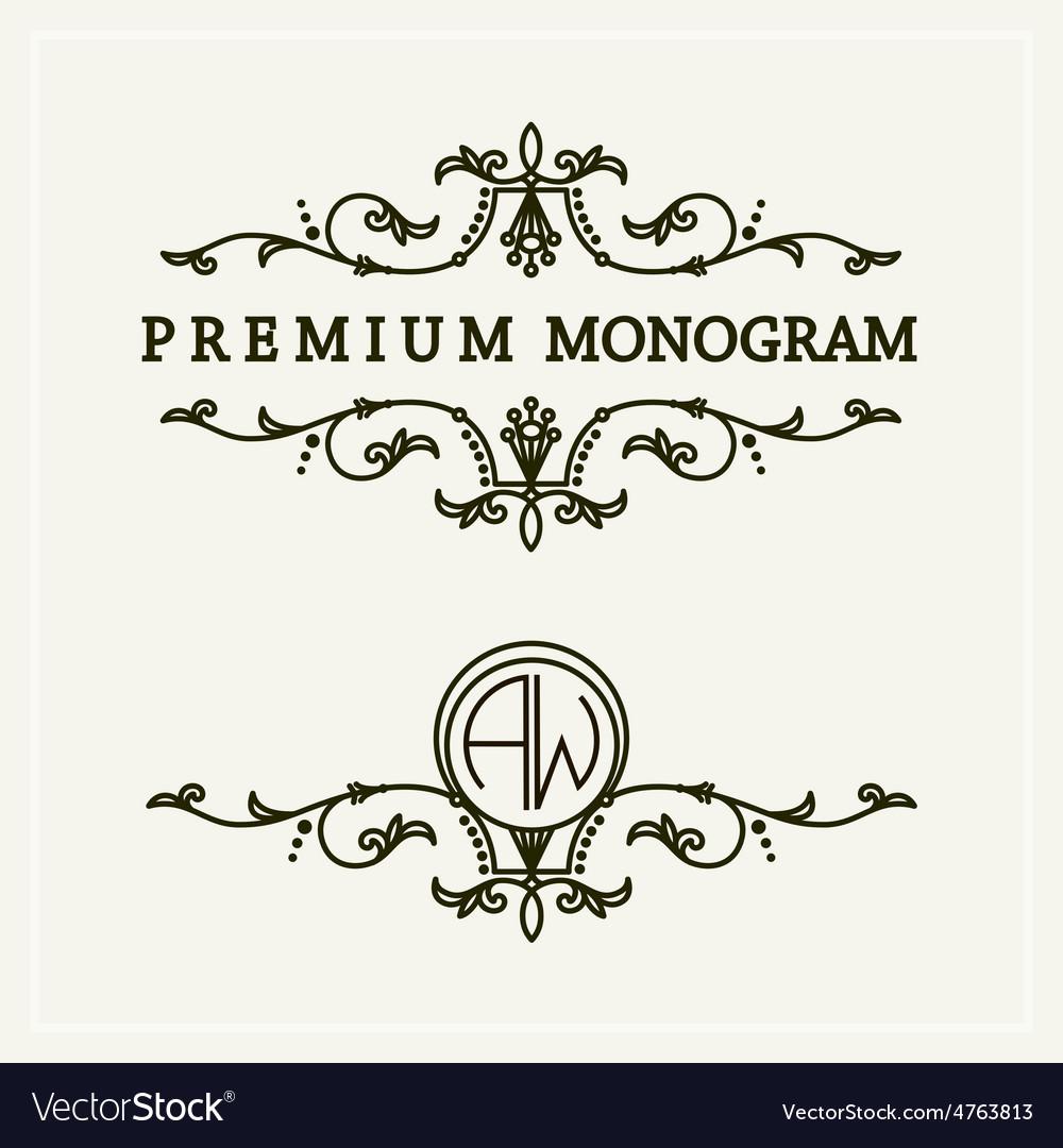 Stylish floral monogram design line art logo