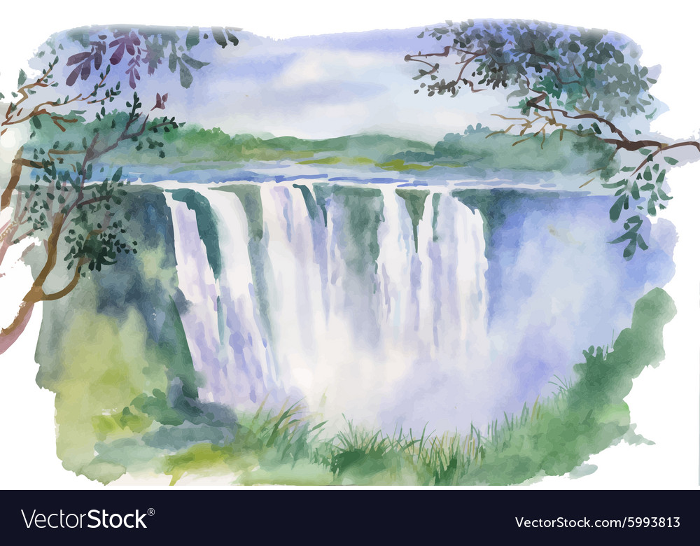 Watercolor of beautiful waterfall