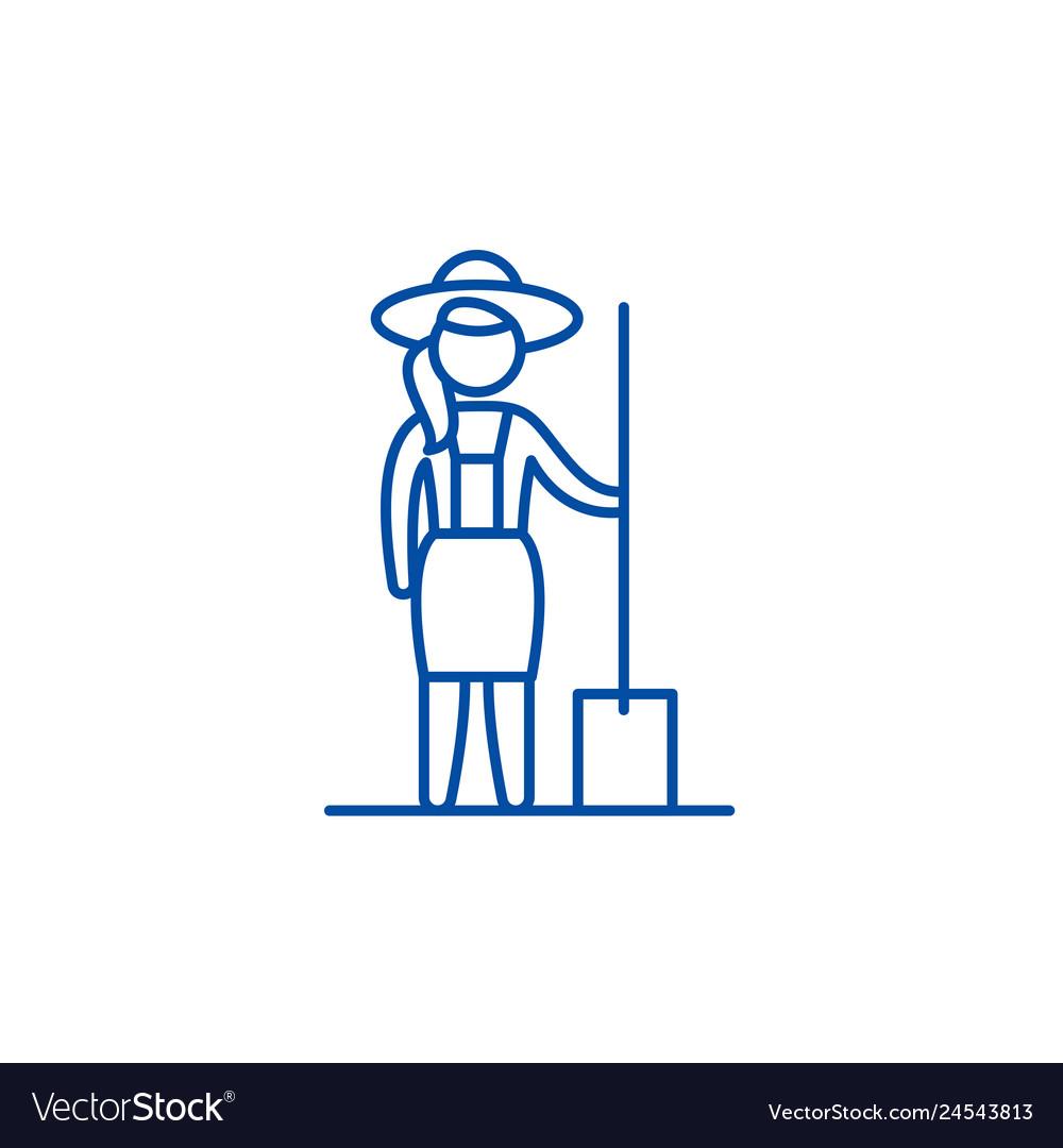 Woman farmer line icon concept woman farmer flat