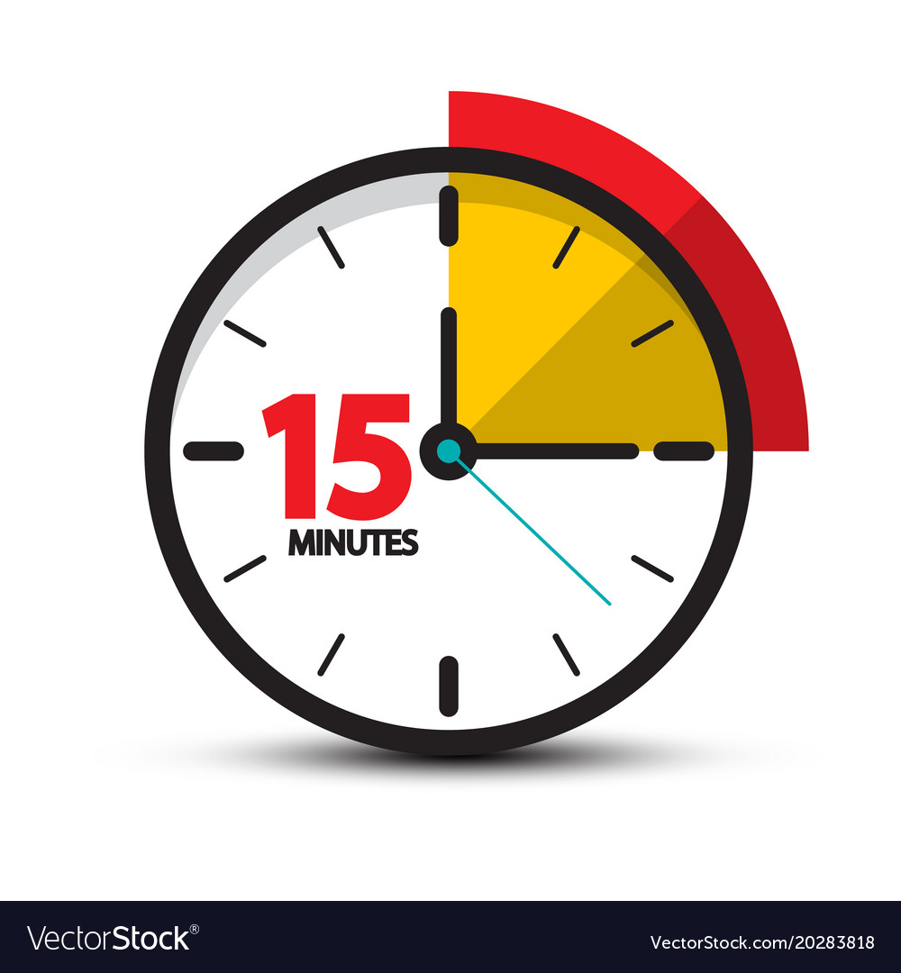 15 minutes clock icon fifteen minute symbol vector image