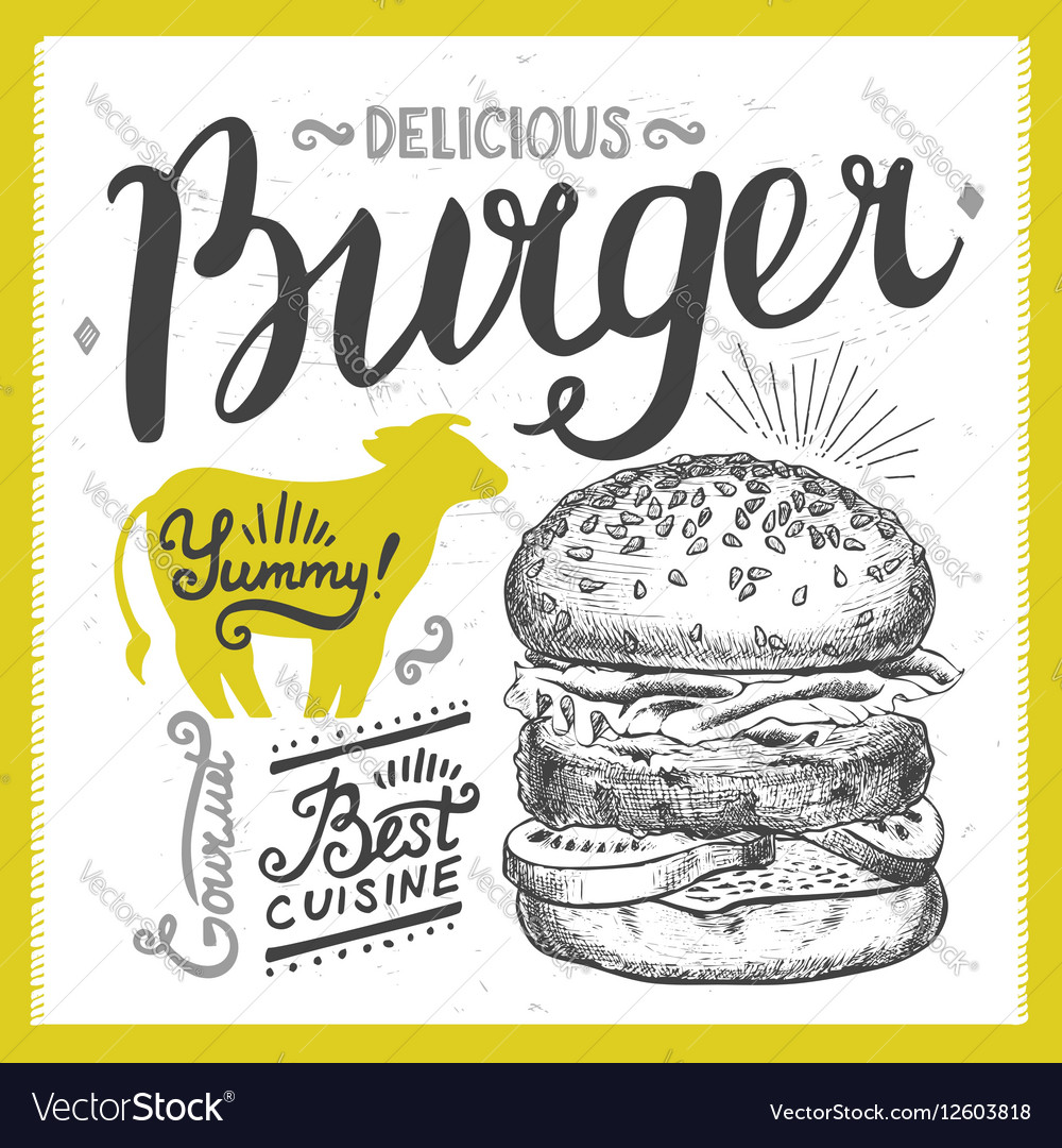 Burger food element for restaurant and cafe