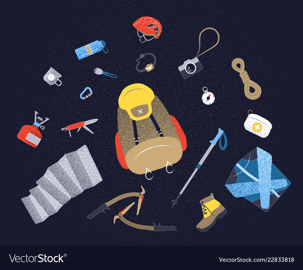 Camping icons set hiking icons set