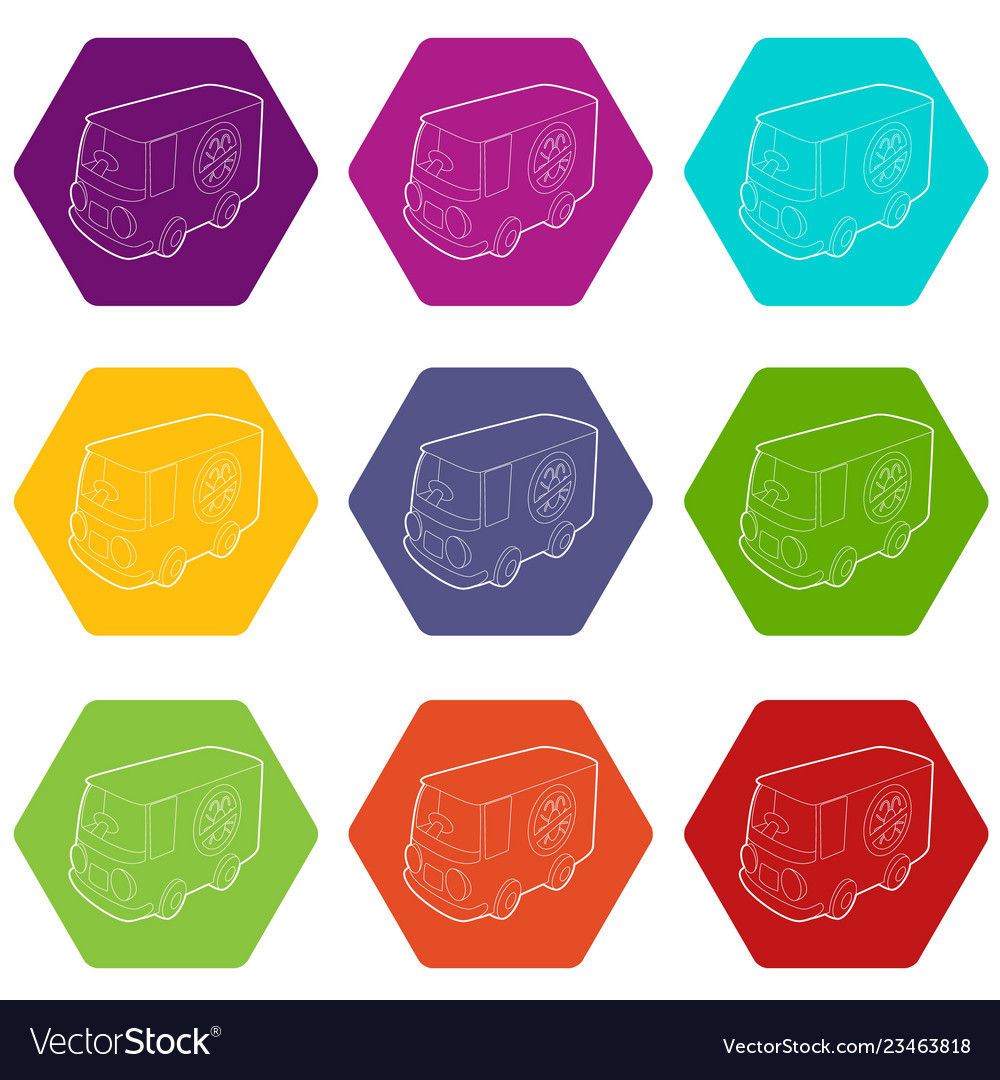 Disinfection car icons set 9