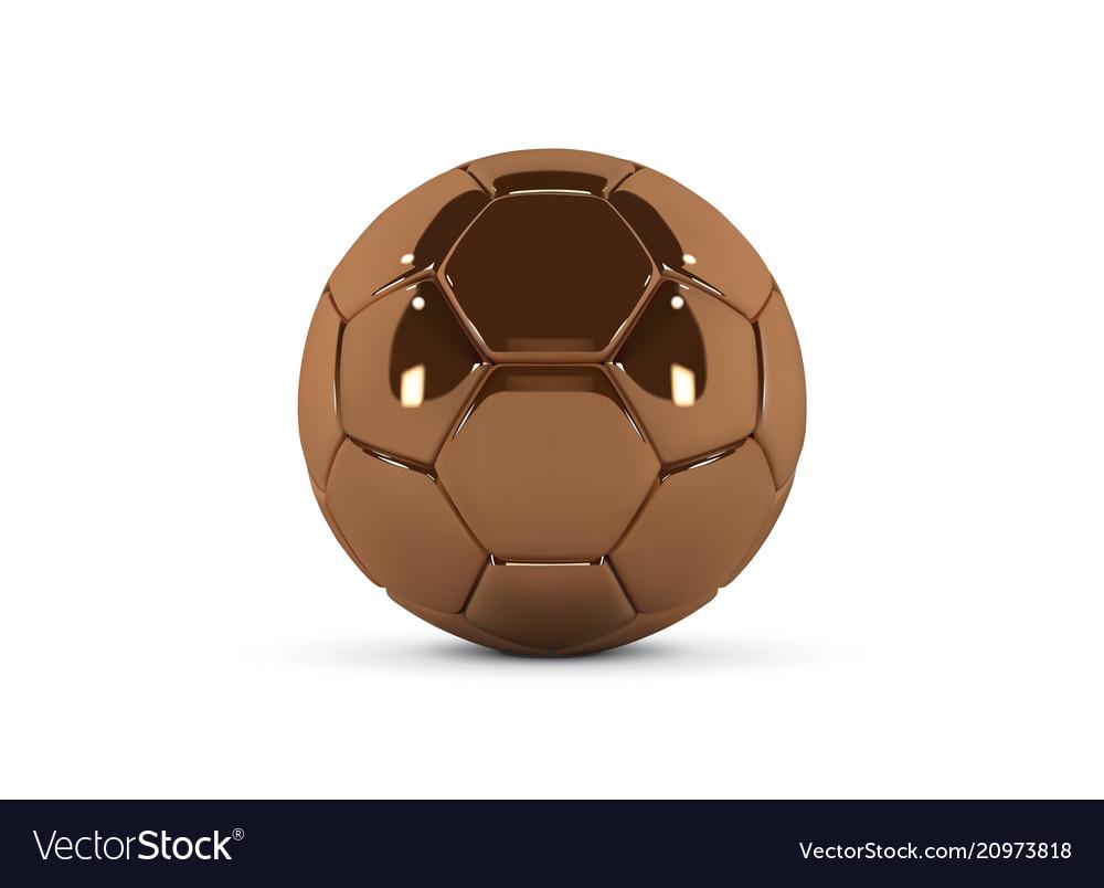 Gold soccer ball on white background golden