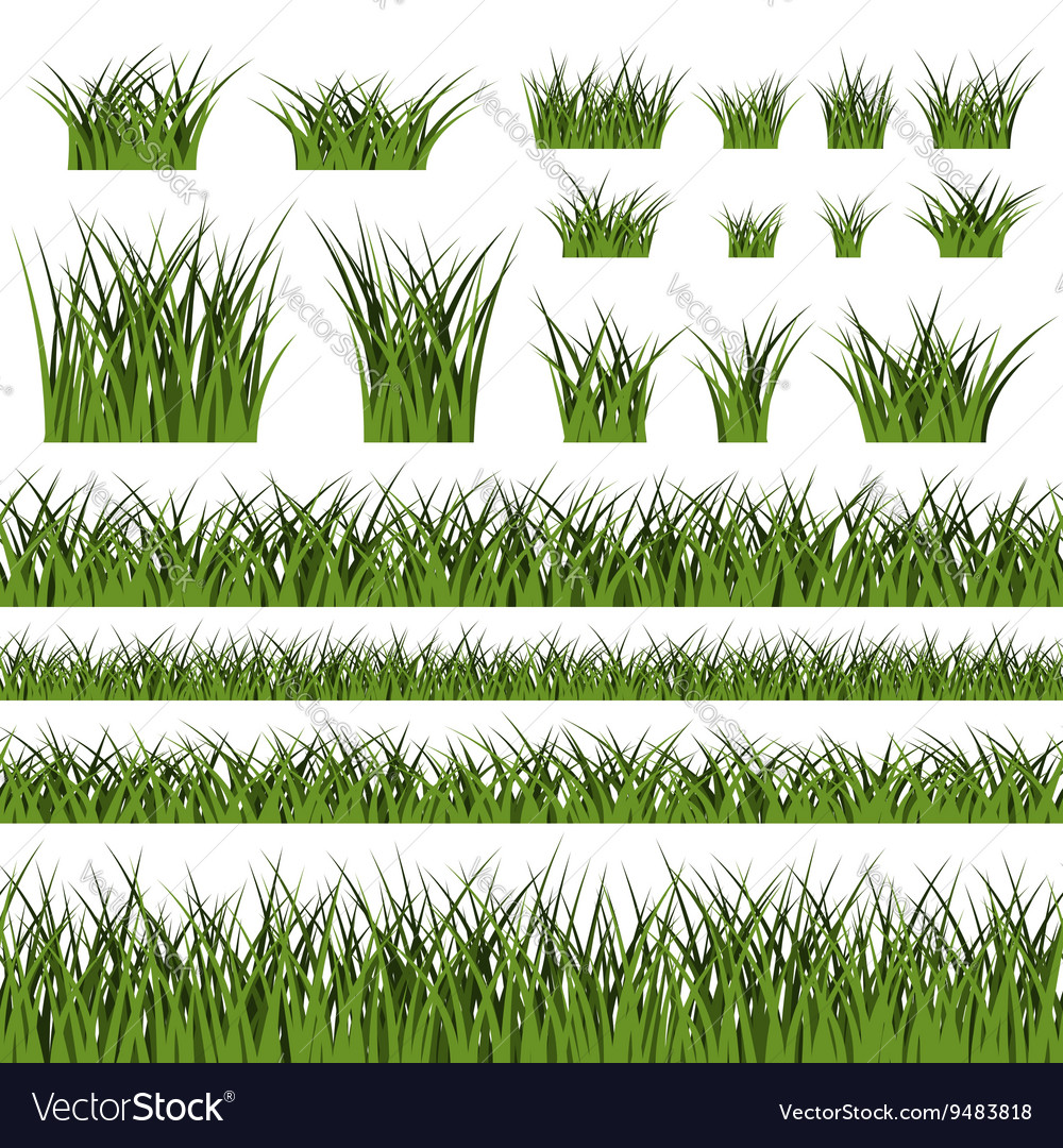 Green Grass Seamless Pattern And Bushes Royalty Free Vector